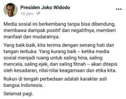 capture SS dari akun resmi Presiden Joko Widodo