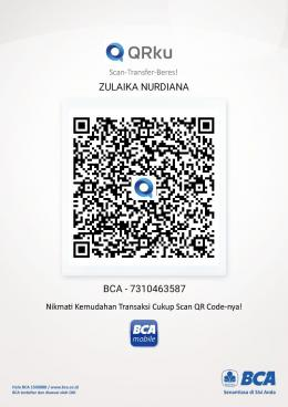 Ilustrasi: Scan QR rekening baru m-BCA istriku (22/05). Sumber: Pribadi