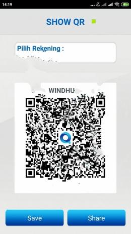 QR Code bisa disimpan dan dibagikan (dok,windhu)