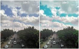 (kiri) foto asli, (kanan) setelah diedit dengan lightroom | sumbe: dokpri