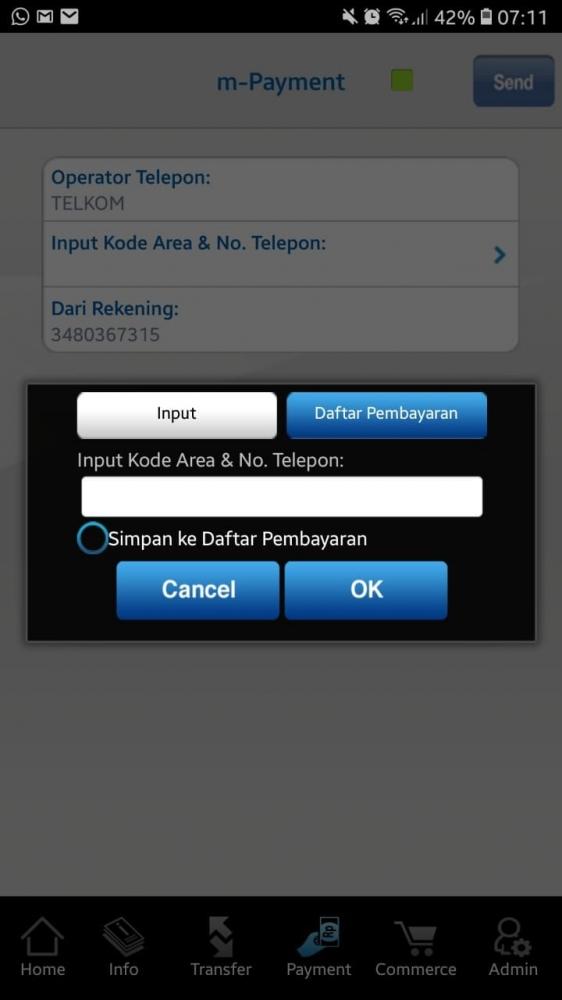 m-Payment untuk membayar tagihan internet (dokpri)