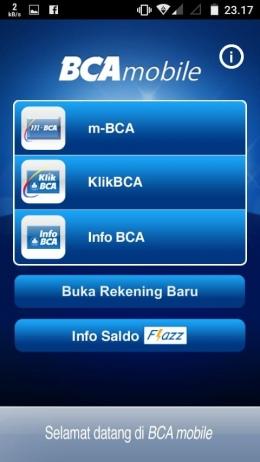 Penampakan BCA mobile di layar gawai cerdas kita. (dok. pribadi)