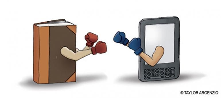 ilustrasi antara buku dan gadget (ilustrasi: taylor argenzo)