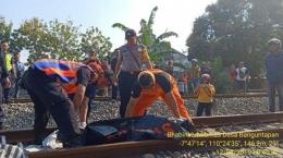 Seorang wanita tertabrak kereta api di perlintasan kereta api dusun Jomblang, RT02 Karangbendo, Banguntapan, Bantul, Senin (12/8/2019) sekira pukul 08.30 WIB. (Dok.Istimewa)