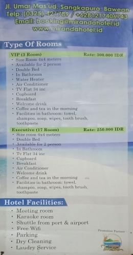 Daftar harga dan fasilitas Hotel Miranda