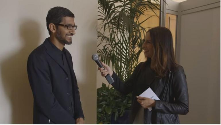 Tangkapan layar wawancara CEO Google, Sundar Pichai, ditayangkan di channel Youtube Recode (dok. pribadi)