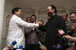 Pertemuan Prabowo dengan Surya Paloh, Minggu 13 Oktober 2019 (bisnis.com/ antara).