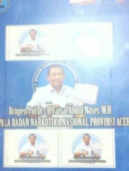 Souvenir Prangko Gambar Kepala BNNP Aceh Brigjen Pol. Drs. Faisal Abdul Naser, MH