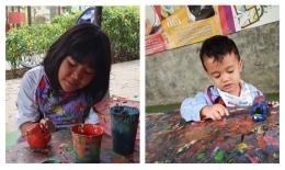 Melukis keramik, bagus untuk melatih motorik halus dan stimulasi pengenalan warna (Foto : Dok. Pribadi)