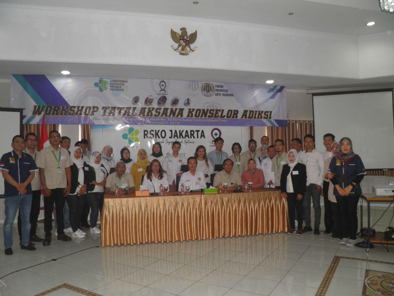 Deskripsi : RSKO Jakartabersama FIAN menyelenggarakan Pelatihan Konselor Adiksi I Sumber Foto : dokpri