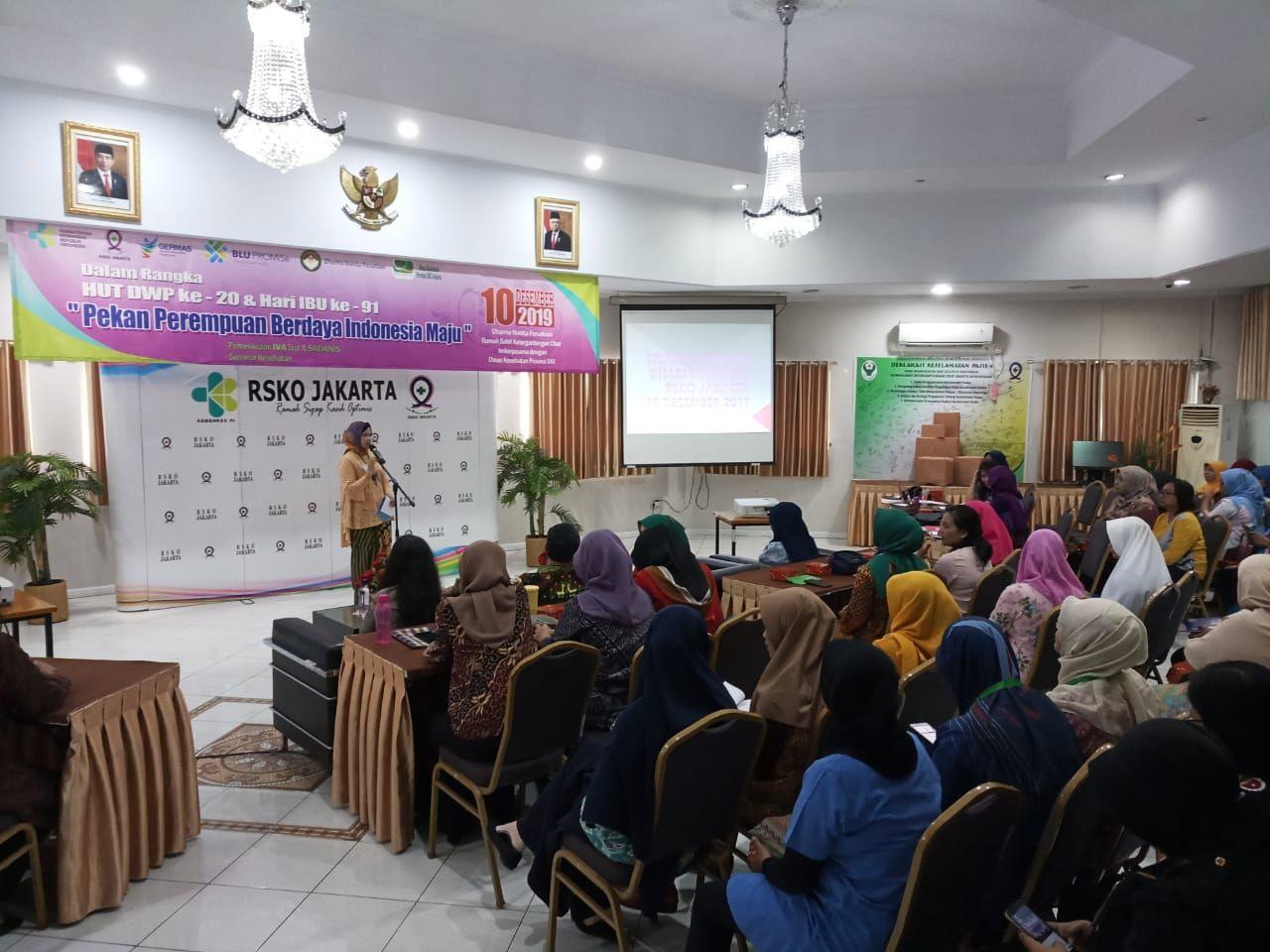 Deskripsi : ketua Dharma Wanita Persatuan RSKO Jakarta, Ibu Sri Hartanti Azhar menyampaikan pentingnya pemeriksaan dini I Sumber : RSKO Jakarta