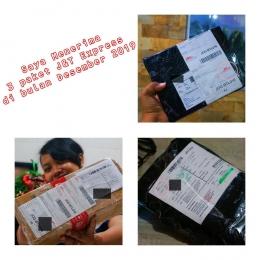 Di bulan Desember ini, saya menerima tiga paket dari J&T Express. Pertama berisi 'papan lem tikus', kedua 'lampu' dan ketiga 'cover shoes' (Dok.Pri)