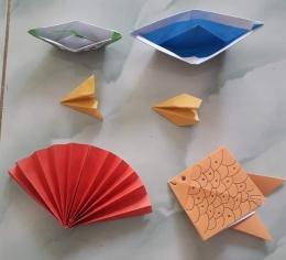 Hasil origami menggunakan kertas lipat. Photo by Ari