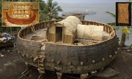 model skalatis Bahtera Nabi Nuh yang dibuat Irving Finkel di Kerala, India (sumber: dailymail.co.uk)