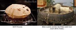 Gambar ini menunjukkan kemiripan bentuk antara roti Phulka dan model bahtera yang dibuat Irvin Finkel. (sumber: spicytasty.com dan dailymail.co.uk)