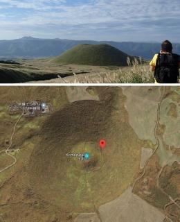 Bukit Komezuka nampak dari kejauhan (atas), Bukit Komezuka tampak dari atas (bawah). (Sumber: www.explore-kumamoto.com dan Google map)
