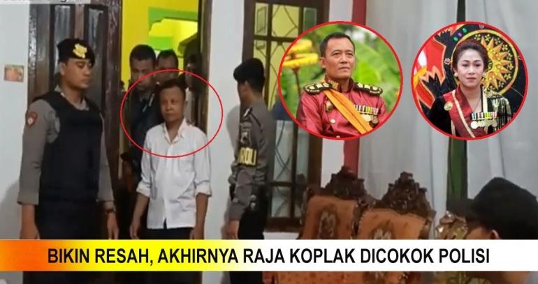 Koplak, Akhir Perjalanan Raja Keraton Sejagat di Kantor Polisi. Foto: Olahan Pribadi /  Youtube iN Indonesia