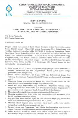 Surat Edaran upaya pencegahan penyebaran covid-19 (corona)