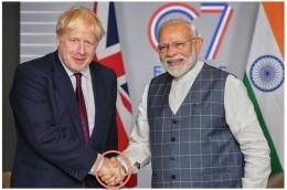 Pertemuan PM Inggris Boris Johnson dan PM India Narendra Moodi di Inggris 12-3-2020. Gambar: News.18.com