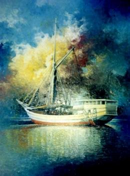 Ilustrasi https://lukisanku.id/amp/lukisan-pinisi-berlabuh-karya-rusdi-trunajaya/