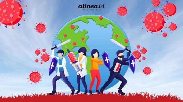 Bersama-sama dari berbagai latar belakang berjuang melawan pandemi virus covid-19. (Sumber gambar: Alinea. ID)