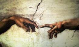 michelangelo, il Creazione d adamo, Kapel Sistina Vatikan Roma, 2,8 m x 5,7 m, 1508--1512 .
