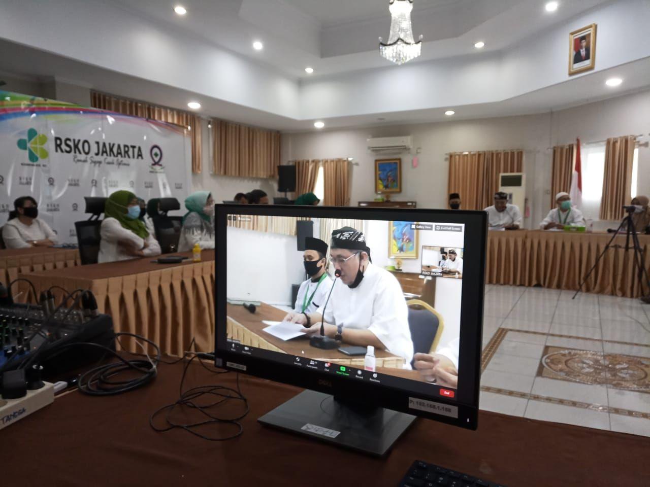 Deskripsi : RSKO Jakarta menyelenggarakan Halal Bi Halal Online I Sumber Foto : dokpri
