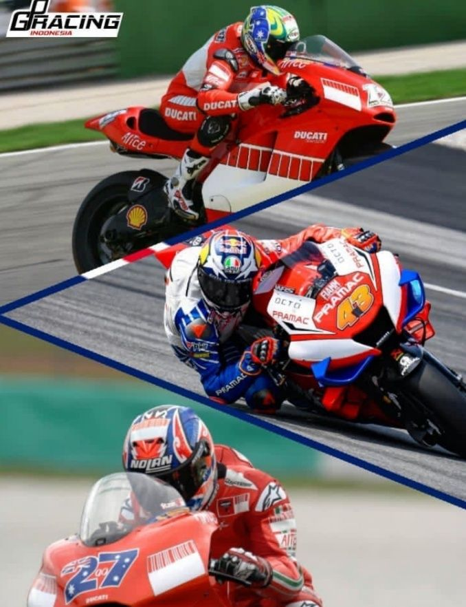 Bayliss, Jack, dan Stoner, pembalap Australia bersama motor Ducati. Dok: IG gpracingindonesia