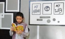 Muhammad Khairil Aryan, Siswa MTs PP. Nurul Falah Borongganjeng Bulukumba dalam sesi pengambilan gambar Lomba Kampanye Indonesia Sehat Kementerian Agama RI 2020. (Dokpri)
