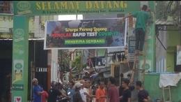 Spanduk pennolakan pelaksanaan rapid tes milik warga Kelurahan Layang Kecamatan Bontoala Kota Makassar (dokpri)