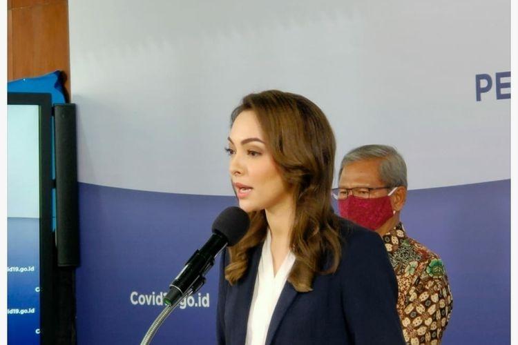 Reisa Broto Asmoro saat memberikan keterangan pers di Graha BNPB, Senin (8/6/2020). (Foto: KOMPAS.com/Dian Erika)