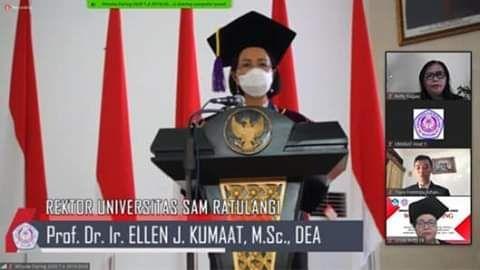 Rektor Unsrat dalam acara wisuda daring(sumberLsonnymoningkey)