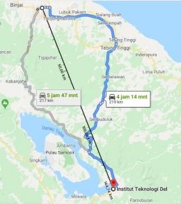 Jarak Lokasi IT Del dari Kota Medan (Sumber: Google Maps)