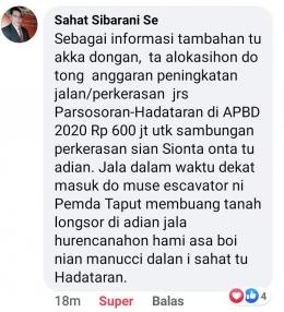 Penjelasan anggota DPRD Tapanuli Utara, Sahat Sibarani, SE mengenai dana tambahan Rp 600 juta dari APBD Kabupaten untuk perbaikan jalan ke Hadataran.