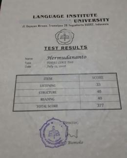 Hasil tes prediksi TOEFL a.n. Hermudananto tahun 2006 (Sumber: Dokumentasi pribadi)