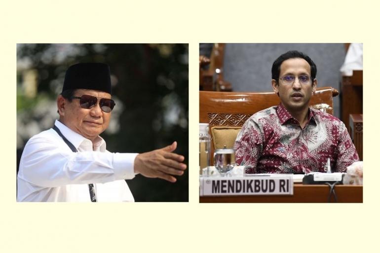 Menhan Prabowo Subianto dan Mendikbud Nadiem. KOMPAS.COM/Andreas Lukas Altobeli/ANTARA/Puspa Perwitasari