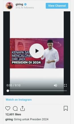Tangkapan layar unggahan video Giring mencalonkan diri sebagai Presiden RI. Sumber: screenshot Instagram Giring Ganesha