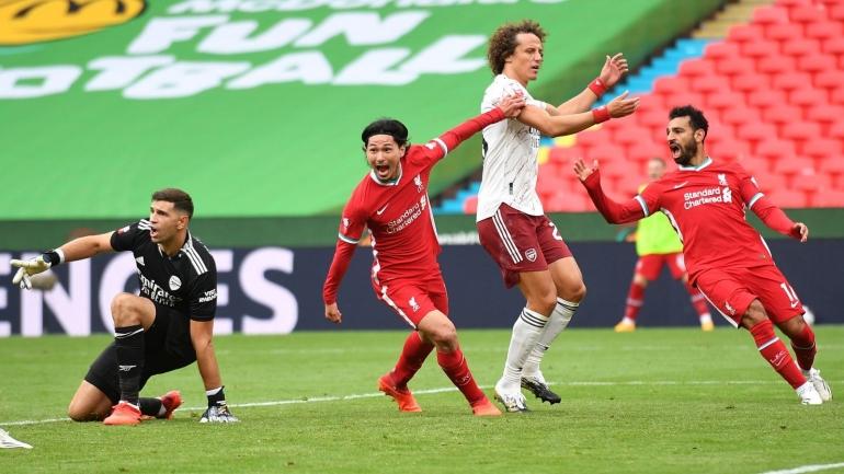 Takumi Minamino mencetak gol perdananya bagi Liverpool dalam laga Community Shield 2020 (Foto Skysports.com)