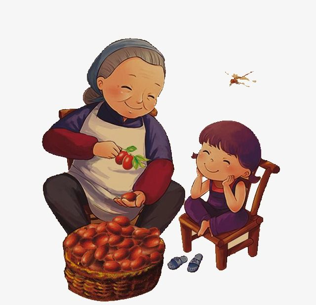 Ilustrasi gambar nenek dan cucu