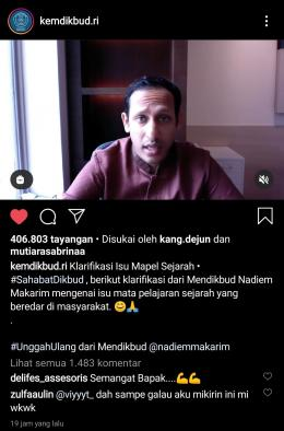 Klarifikasi Isu Mapel Sejarah melalui akun Instagram @kemdikbud.ri
