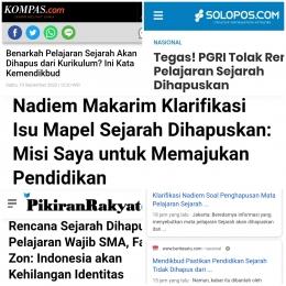 Pemberitaan Media Daring/kolase pribadi dari laman kompas.com, solopos.com, pikiran-rakyat.com