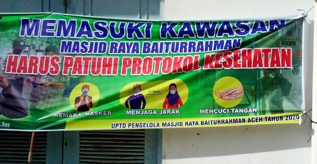 Area Penerapan Protokol Kesehatan di Masjid Raya Baiturrahman Banda Aceh (doc Pribadi)