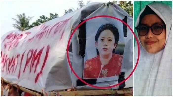 Aksi Teatrikal Keranda Mayat Ditempel Gambar Puan Maharani dalam aksi tolak UU Cipta Kerja di Makassar. Sumber: www.tribunnews.com