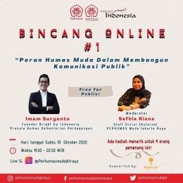 Bincang Online #1 Peran Humas Muda Dalam Membangun Komunikasi Publik oleh PM Jakarta Raya (Dok: PERHUMAS Muda Jakarta Raya)