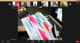 Zoom pembelajaran seni origami. Dokumen Pribadi