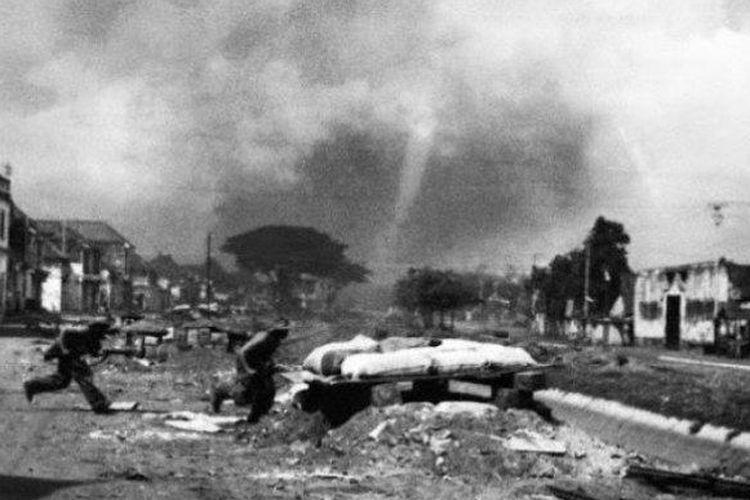 Peristiwa terjadinya Bandung Lautan Api(tribunnewswiki.com)