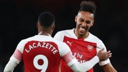 Aubameyang dan Lacazette, duet penyerang Arsenal (Foto Skysports.com)
