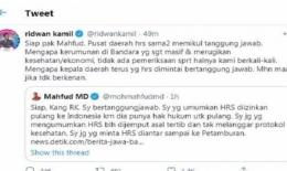 Ridwan Kamil membalas cuitan Menko Polhukam Mahfud MD, Rabu (16/12/2020).(Twitter @ridwankamil)