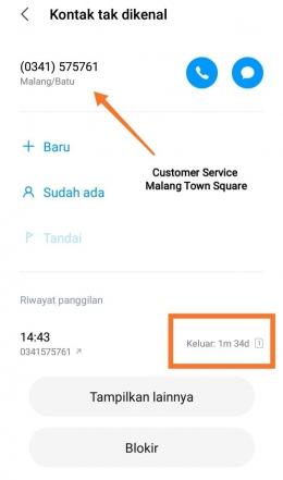 Telepon Customer Service Malang Town Square (dokpri)