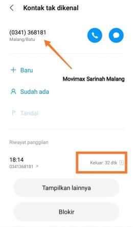 Telepon Bioskop Movimax Sarinah Malang (dokpri)